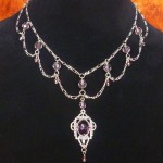 Amethyst purple Victorian Steampunk necklace N021