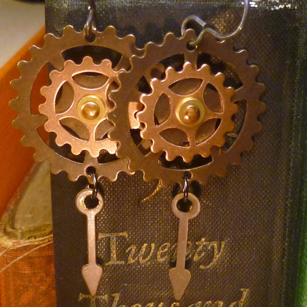 Ring In The Steampunk Decor To Pimp Up Your Home: Copper Watch Gear & Hands Steampunk Earrings