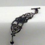 Black pearl lacy Victorian filigree steampunk bracelet- BR 007