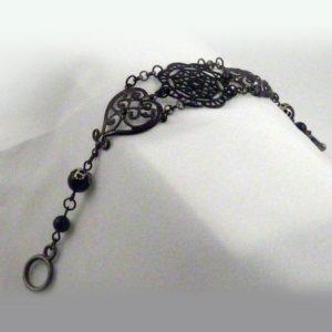 Black pearl lacy Victorian filigree steampunk bracelet- BR 007_05