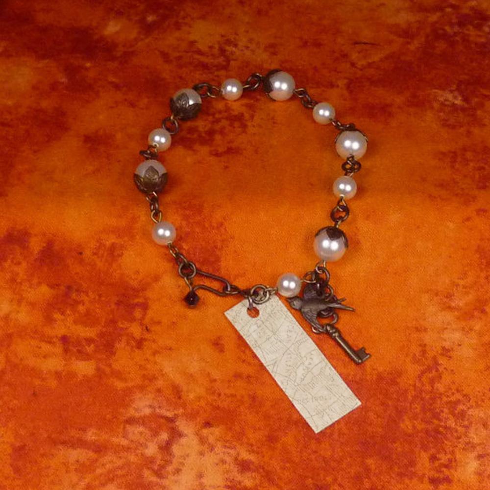 Locket Charm Bracelet: Brass And White Pearl Toggle Charm Bracelet