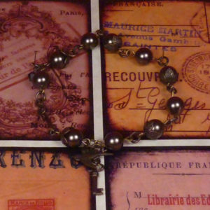 Sky Captain Lenora's Pearl and Vintage brass toggle bracelet BR006