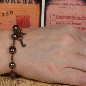 Sky Captain Lenora's Pearl and Vintage brass toggle bracelet BR006_2