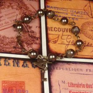 Sky Captain Lenora's Pearl and Vintage brass toggle bracelet BR006_3