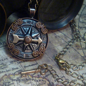 Steampunk Airship Navigator antique compass necklace- N002_2