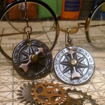Steampunk Vintage antique copper compass earrings E002