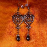 Victorian black and silver earrings E022_2