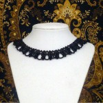 Victorian black crystal beaded necklace choker N015