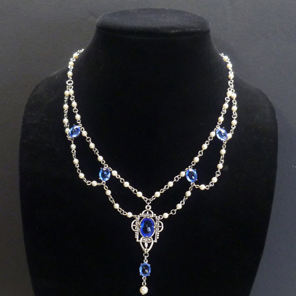 inspired pearls swarovski regalia crystal pearl authentic royal cz princess necklace royalty diana choker sapphire