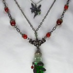 Absinthe Fairy necklace with bottle and fairy charm