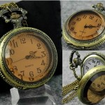 Vision Clasp Necklace Timepiece - Brass Tone